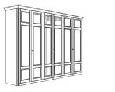 Jitona Piano šatní skříň, 6 dveří, 2 zrcadla