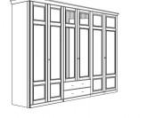 Jitona Piano šatní skříň, 6 dveří, 2 zásuvky, 2 zrcadla