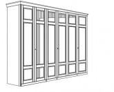 Jitona Piano šatní skříň, 6 dveří, 4 zrcadla