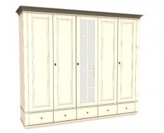 Jitona Georgia šatní skříň, 5 dveří, 5 zásuvek, 1 zrcadlo