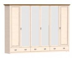 Jitona Country Inn šatní skříň, 6 dveří, 3 zásuvky, 4 zrcadla