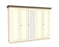 Jitona Georgia šatní skříň, 5 dveří, 1 zrcadlo