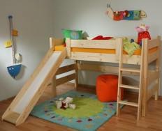 Gazel Sendy dětská patrová postel nízká se skluzavkou smrk