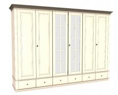 Jitona Georgia šatní skříň, 6 dveří, 6 zásuvek, 2 zrcadla