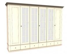 Jitona Georgia šatní skříň, 6 dveří, 6 zásuvek, 4 zrcadla