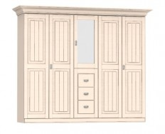 Jitona Malta šatní skříň, 5 dveří, 3 zásuvky, 1 zrcadlo