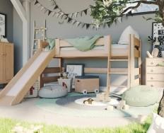 Gazel Sendy dětská patrová postel nízká se skluzavkou buk