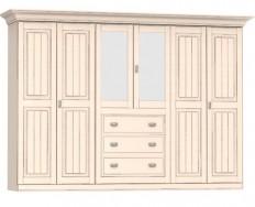 Jitona Malta šatní skříň, 6 dveří, 3 zásuvky, 2 zrcadla