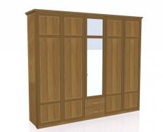Jitona Piano šatní skříň, 5 dveří, 2 zásuvky, 1 zrcadlo