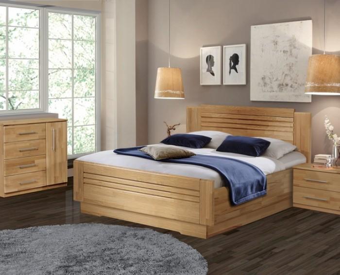 Vykona masivní buková postel Sandra Lux výklop s úložným prostorem