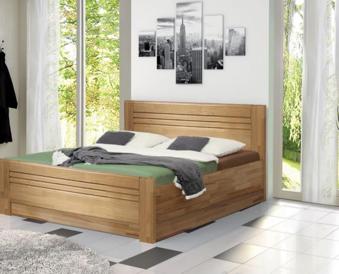 Vykona masivní buková postel Jola Lux výklop s úložným prostorem