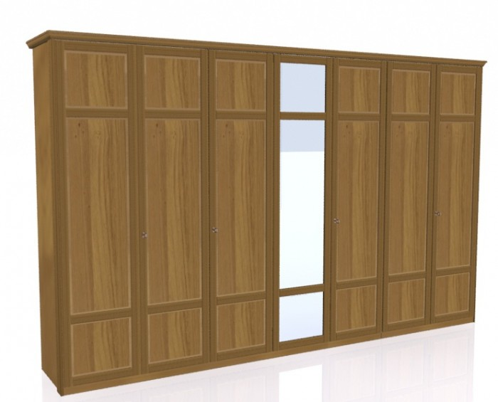 Jitona Piano šatní skříň, 7 dveří, 1 zrcadlo
