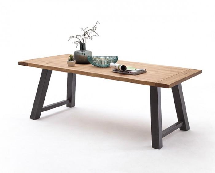 CORSO 3 jídelní stůl - barva nohou lak antik antracit, dub masiv divoký, olejovaný