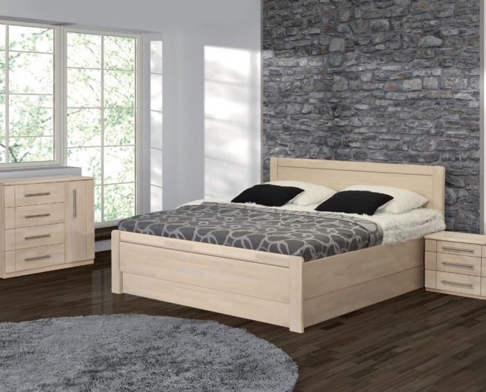 Vykona masivní buková postel Romana výklop s úložným prostorem