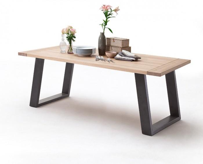 CORSO 2 jídelní stůl - barva nohou lak antik antracit, dub masiv bělený, olejovaný