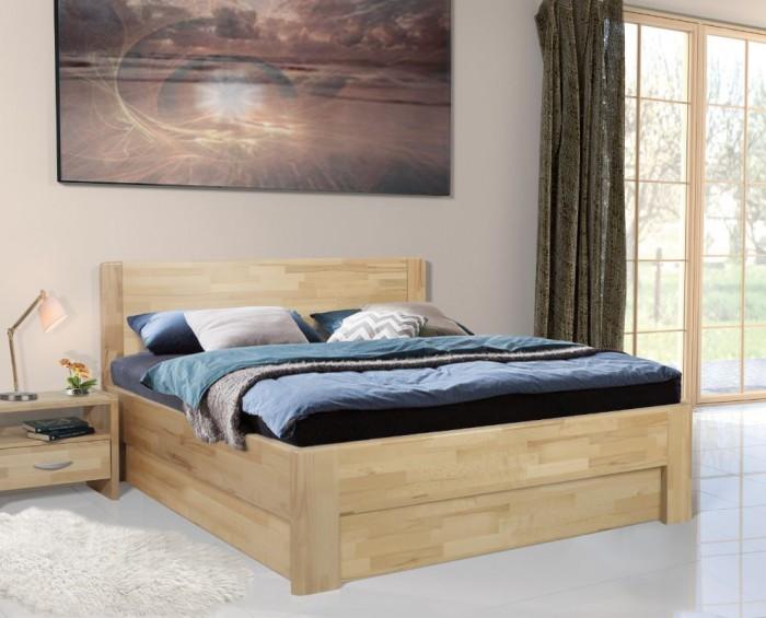 Vykona masivní buková postel Nikol výklop s úložným prostorem