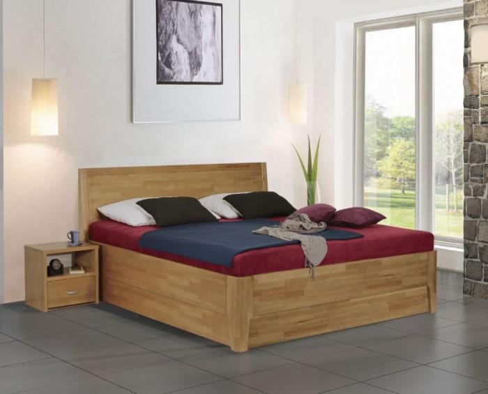 Vykona masivní buková postel Nina výklop s úložným prostorem