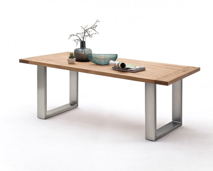 CORSO 1 jídelní stůl - barva nohou nerez broušená, dub masiv divoký, olejovaný