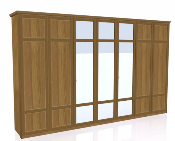 Jitona Piano šatní skříň, 7 dveří, 3 zrcadla