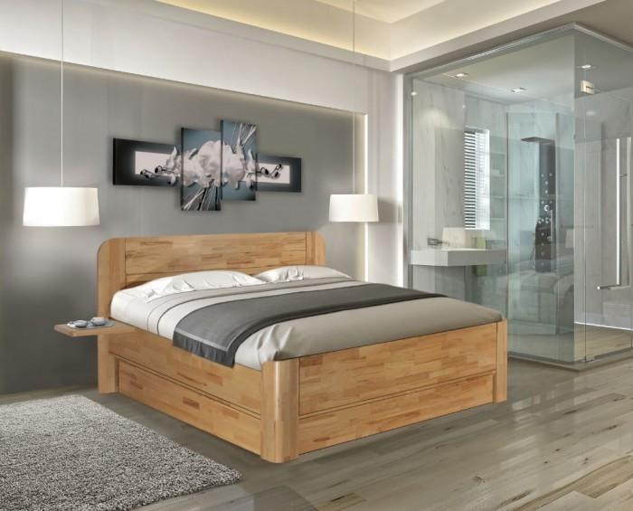 Vykona masivní buková postel Elen výklop s úložným prostorem