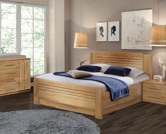 Vykona masivní buková postel Sandra výklop s úložným prostorem